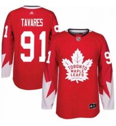 Mens Adidas Toronto Maple Leafs 91 John Tavares Premier Red Alternate NHL Jersey
