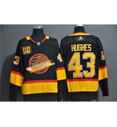 Canucks 43 Quinn Hughes Black 50th Season Adidas Jersey