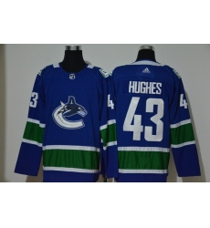 Men Vancouver Canucks 43 Quinn Hughes Blue Adidas Jersey