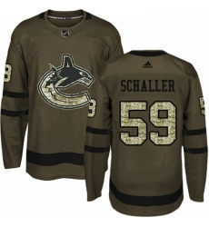 Mens Adidas Vancouver Canucks 59 Tim Schaller Authentic Green Salute to Service NHL Jersey
