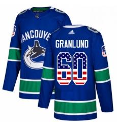 Mens Adidas Vancouver Canucks 60 Markus Granlund Authentic Blue USA Flag Fashion NHL Jersey