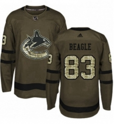 Mens Adidas Vancouver Canucks 83 Jay Beagle Authentic Green Salute to Service NHL Jersey