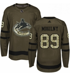 Mens Adidas Vancouver Canucks 89 Alexander Mogilny Premier Green Salute to Service NHL Jersey