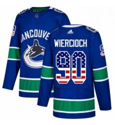Mens Adidas Vancouver Canucks 90 Patrick Wiercioch Authentic Blue USA Flag Fashion NHL Jersey