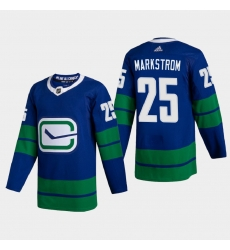 Vancouver Canucks 25 Jacob Markstrom Men Adidas 2020 21 Authentic Player Alternate Stitched NHL Jersey Blue
