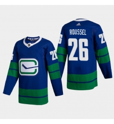 Vancouver Canucks 26 Antoine Roussel Men Adidas 2020 21 Authentic Player Alternate Stitched NHL Jersey Blue