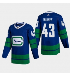 Vancouver Canucks 43 Quinn Hughes Men Adidas 2020 21 Authentic Player Alternate Stitched NHL Jersey Blue