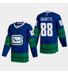 Vancouver Canucks 88 Adam Gaudette Men Adidas 2020 21 Authentic Player Alternate Stitched NHL Jersey Blue