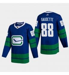 Vancouver Canucks 88 Adam Gaudette Men Adidas 2020 21 Authentic Player Alternate Stitched NHL Jersey Blue