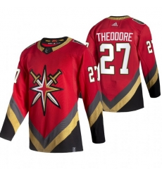 Men Vegas Golden Knights 27 Shea Theodore Red Adidas 2020 21 Reverse Retro Alternate NHL Jersey