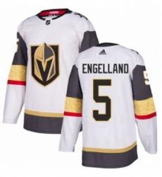Mens Adidas Vegas Golden Knights 5 Deryk Engelland Authentic White Away NHL Jersey