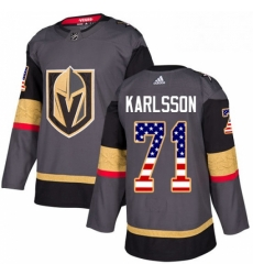 Mens Adidas Vegas Golden Knights 71 William Karlsson Authentic Gray USA Flag Fashion NHL Jersey
