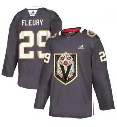 Vegas Golden Knights 29 Marc Andre Fleury Gray Dia De Los Muertos Adidas Jersey
