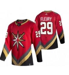 Women Vegas Golden Knights 29 Marc Andre Fleury Red Adidas 2020 21 Reverse Retro Alternate NHL Jersey