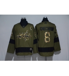 Men Washington Capitals 8 Alexander Ovechkin Olive Adidas Jersey