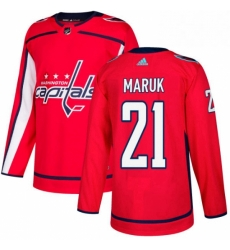 Mens Adidas Washington Capitals 21 Dennis Maruk Authentic Red Home NHL Jersey