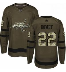 Mens Adidas Washington Capitals 22 Madison Bowey Premier Green Salute to Service NHL Jersey