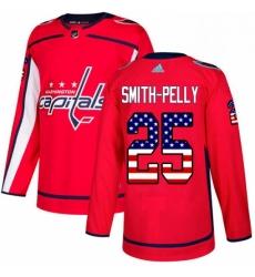 Mens Adidas Washington Capitals 25 Devante Smith Pelly Authentic Red USA Flag Fashion NHL Jersey