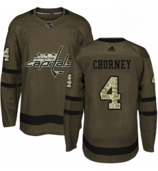 Mens Adidas Washington Capitals 4 Taylor Chorney Authentic Green Salute to Service NHL Jersey