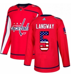 Mens Adidas Washington Capitals 5 Rod Langway Authentic Red USA Flag Fashion NHL Jersey