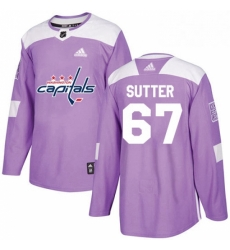 Mens Adidas Washington Capitals 67 Riley Sutter Authentic Purple Fights Cancer Practice NHL Jersey