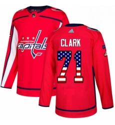 Mens Adidas Washington Capitals 71 Kody Clark Authentic Red USA Flag Fashion NHL Jerse