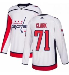 Mens Adidas Washington Capitals 71 Kody Clark Authentic White Away NHL Jersey