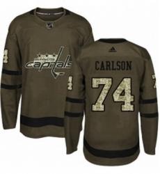 Mens Adidas Washington Capitals 74 John Carlson Authentic Green Salute to Service NHL Jersey