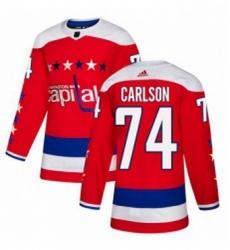 Mens Adidas Washington Capitals 74 John Carlson Authentic Red Alternate NHL Jersey