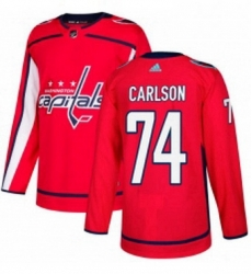 Mens Adidas Washington Capitals 74 John Carlson Authentic Red Home NHL Jersey