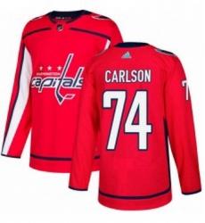 Mens Adidas Washington Capitals 74 John Carlson Premier Red Home NHL Jersey