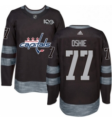 Mens Adidas Washington Capitals 77 TJ Oshie Authentic Black 1917 2017 100th Anniversary NHL Jersey