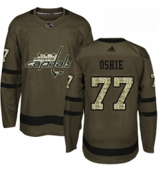 Mens Adidas Washington Capitals 77 TJ Oshie Authentic Green Salute to Service NHL Jersey
