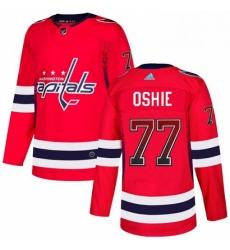 Mens Adidas Washington Capitals 77 TJ Oshie Authentic Red Drift Fashion NHL Jersey