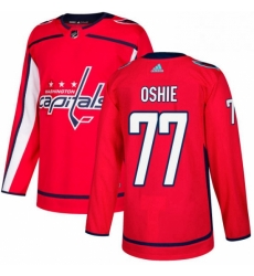Mens Adidas Washington Capitals 77 TJ Oshie Authentic Red Home NHL Jersey