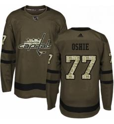 Mens Adidas Washington Capitals 77 TJ Oshie Premier Green Salute to Service NHL Jersey