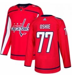 Mens Adidas Washington Capitals 77 TJ Oshie Premier Red Home NHL Jersey