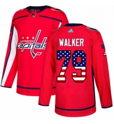 Mens Adidas Washington Capitals 79 Nathan Walker Authentic Red USA Flag Fashion NHL Jersey