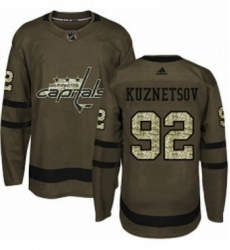 Mens Adidas Washington Capitals 92 Evgeny Kuznetsov Authentic Green Salute to Service NHL Jersey