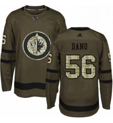 Mens Adidas Winnipeg Jets 56 Marko Dano Authentic Green Salute to Service NHL Jersey