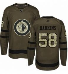 Mens Adidas Winnipeg Jets 58 Jansen Harkins Authentic Green Salute to Service NHL Jersey