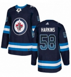 Mens Adidas Winnipeg Jets 58 Jansen Harkins Authentic Navy Blue Drift Fashion NHL Jersey