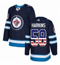 Mens Adidas Winnipeg Jets 58 Jansen Harkins Authentic Navy Blue USA Flag Fashion NHL Jersey