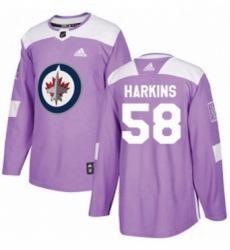 Mens Adidas Winnipeg Jets 58 Jansen Harkins Authentic Purple Fights Cancer Practice NHL Jersey