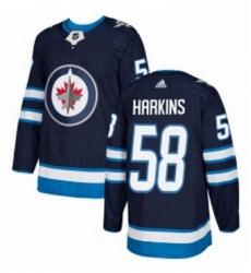 Mens Adidas Winnipeg Jets 58 Jansen Harkins Premier Navy Blue Home NHL Jersey