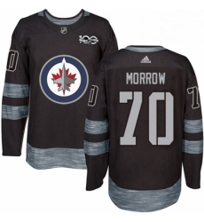 Mens Adidas Winnipeg Jets 70 Joe Morrow Authentic Black 1917 2017 100th Anniversary NHL Jerse