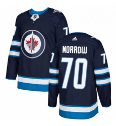 Mens Adidas Winnipeg Jets 70 Joe Morrow Authentic Navy Blue Home NHL Jerse