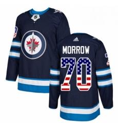 Mens Adidas Winnipeg Jets 70 Joe Morrow Authentic Navy Blue USA Flag Fashion NHL Jerse