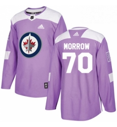 Mens Adidas Winnipeg Jets 70 Joe Morrow Authentic Purple Fights Cancer Practice NHL Jerse