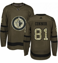 Mens Adidas Winnipeg Jets 81 Kyle Connor Authentic Green Salute to Service NHL Jersey